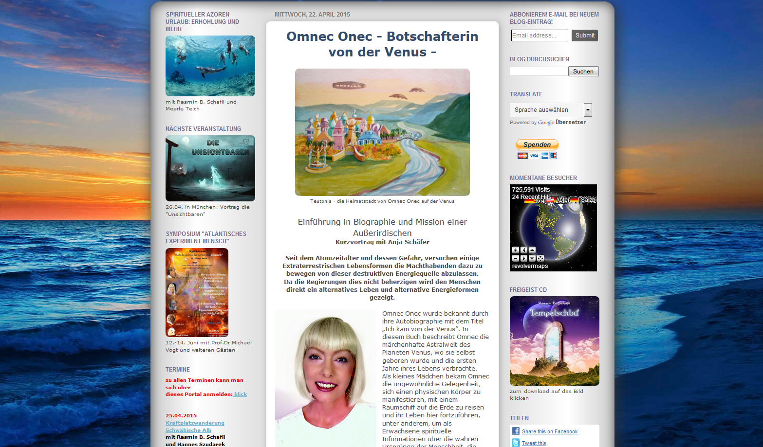 Omnec Onec – Botschafterin von der Venus – Kurzvortrag mit Anja Schäfer in Überlingen